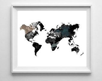 Black world map, Abstract world map, Watercolor map, Word map print, World map poster, Black grey, Minimalist art, Map wall art, Printable