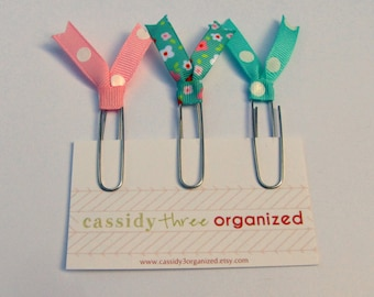 Pink and Aqua Floral Planner Clips, Planner Clips, Organizer Clips