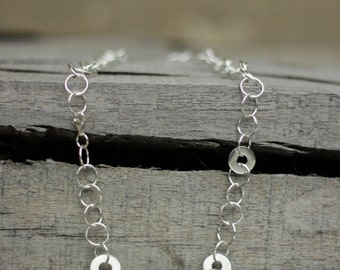 Silver Rings Necklace-Handmade Silver Rings Necklace-Silver Hoop Necklace-Sterling Rings Necklace-Valentines Day Gift