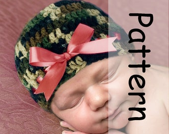 Baby Girl CAMO PATTERN PDF Crochet Camo Baby Hat, Baby Girl Hat Patterns Camo Beanie Knit Camo Baby Girl Clothes, Girls Camouflage Pattern