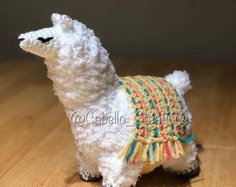 Baby Llama with Colored Tapestry - Crocheted and Stuffed (Amigurumi)