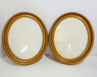 Pr Vintage Homco Soroco Frames Large Oval Gold Brown 2 Picture Embroidery Needlework Art Frames Victorian Look