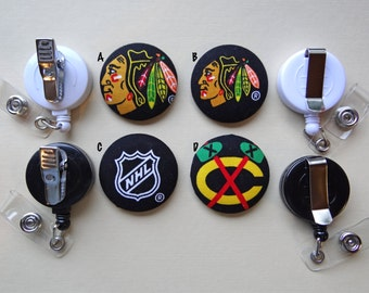 Retractable Badge Holder - Fabric Covered Button - Chicago Blackhawks