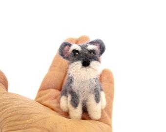 Miniature Schnauzer ornament, , Needle felted dog, Custom dog portrait, Schnauzer art, Dog memorial, Custom dog ornament