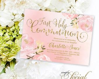 Floral Holy Communion Invitation - Floral Communion Invite Baptism Invitation Peony Invitation Printable Invitation Religious Faux Gold Foil