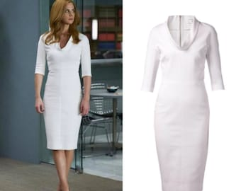 little white dress pencil shape dress custom made all sizes celeb inspired