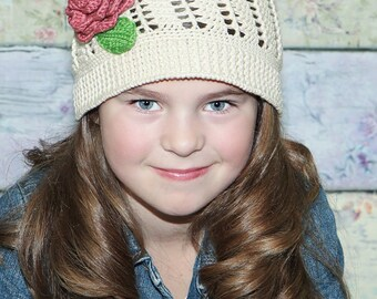 Spiral Sun Cloche PATTERN_Not the Actual Item, Spiral Sun Hat/PATTERN No. 103: 4 Sizes- Toddler Through Adult Med/Lg, Rose Pattern Included