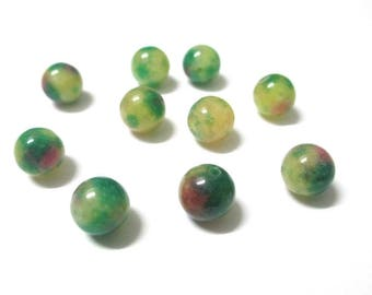 10 jade beads, yellow, green and pink 8mm