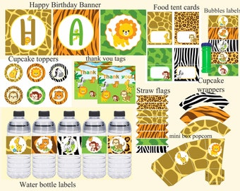 Safari Birthday party package, Safari Birthday decorations, Jungle birthday, Zoo birthday, Safari party decorations,  Digital File.