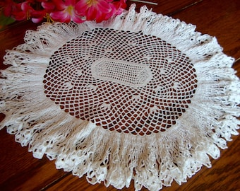 White Crochet Doily Vintage Hand Crocheted Lace Oval Doily Table Linens