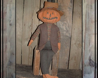 Primitive Soft Sculpted pumpkin rag doll instant download digital pattern crows hat HAGUILD HAFAIR ofg faap