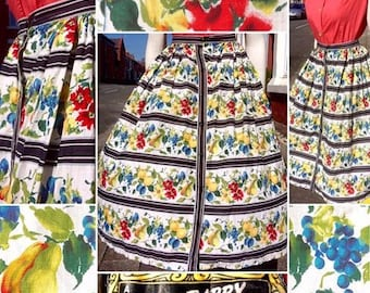 Gorgeous Original 1940s/50s Novelty Fruit and Floral Print Skirt by 'Susan Barry of London'!