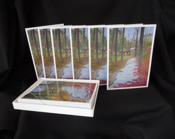 "Boxed Set of 6 Fine Art Note Cards from My Original Painting ""Autumn in the Berkshires"""