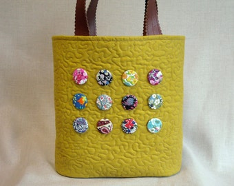 Yellow Ochre Linen Button Bucket Tote - Liberty of London Tana Lawn  Prints