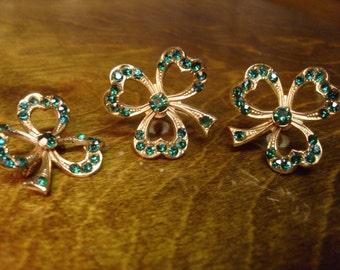 Vintage 1960's  Shamrock Earrings & Pin Set