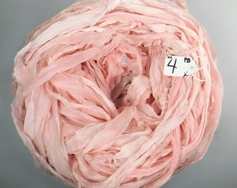 CHIFFON sari ribbon, Recycled Silk Chiffon ribbon, peach blush sari ribbon, tassel supply, knitting supply, weaving supply, Cottage chic