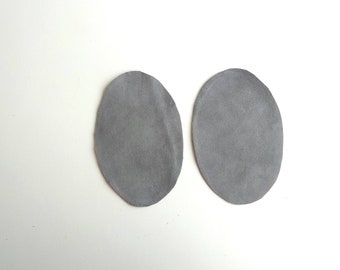 Grey elbow patches, set of 2 leather patches, suede knee patches, suede patches for jackets, blazers, small elbow pads, large elbow patches