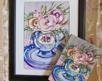 PRINT of Flowers in a Tea Cup / still life/ Gift/ Painting/ Cheap present/