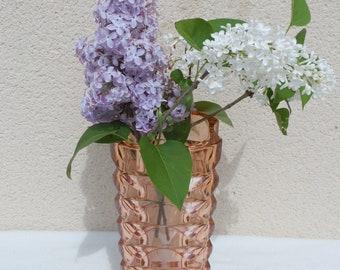Large glass vase cut transparent blush coral pink, chic deco, classic. vintage, romantic