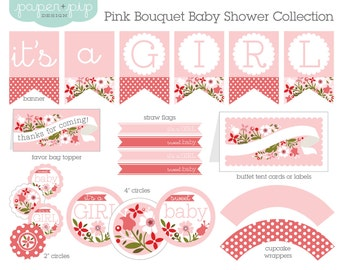 Baby Shower Decorations - Printable - Pink Bouquet
