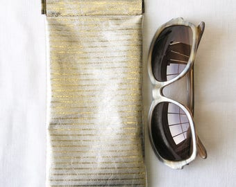 Repurposed Leather Glasses Case / Upcycled Leather Glasses Case / Gold Striped Pinch Frame glasses pouch