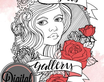 Bloom Girl Gallery Digital Color and Create book