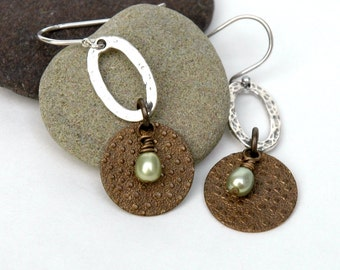 Mixed Metal Earrings, Freshwater pearl, Hammered Sterling silver, Dangle earrings, Gift for her, Embossed brass Jewelry
