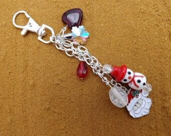 Christmas bag charm, xmas bag charms, snowman purse charm, Christmas accessory, bag dangles, bag accessory, bag jewellery, purse charm