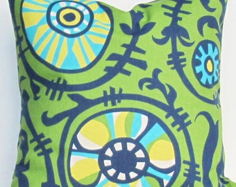 Green blue Pillow yellow turquoise Decorative throw Cover 28x28 inch suzani vine sunshine