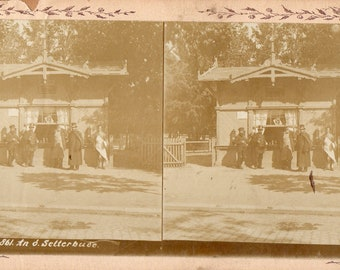 """Men Drinking at a German Beer House """"Selterbude"""" Stereoview Photo"""