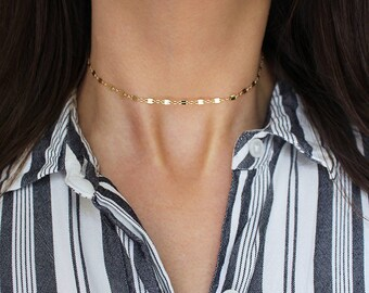 Double Bar Link Chain Choker, Dainty Necklace, Layering Choker, 14k Gold Filled, Thin Gold Chain Choker