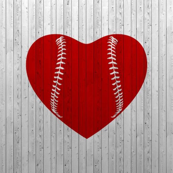 Baseball Heart Svg Baseball Love Svg Baseball Svg Files