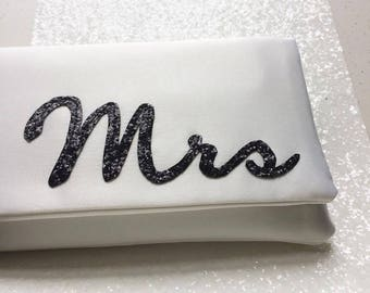 MRS wedding day bridal glitter clutch purse