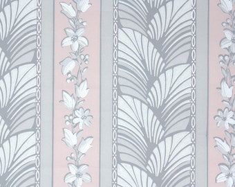 1940s Vintage Wallpaper by the Yard - Pink and Gray Stripe with Flowers and Ferns