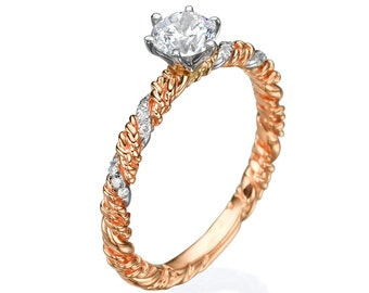 14k Rose gold ring , Rose engagement ring, Rose diamond ring, Diamond engagement ring,  Twisted ring, Diamond ring , Solitaire ring,