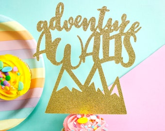 Adventure Awaits Cake Topper, Wedding Cake, Baby Shower Cake Topper, Adventure, Baby Shower, Engagement Party, Wedding Decor, Gold Glitter