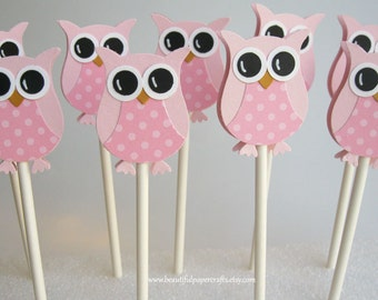 Pretty in Pink Owl Cupcake Toppers | Owl Baby Shower Decorations..set of 12