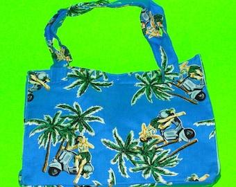 Hula Girl Vespa Scooter Sweetie Palm Tree Hawaii Summer Fun Classic Handbag Style Blue Printed Purse