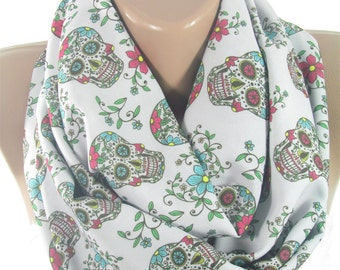 Sugar Skull Scarf Day Of The Dead Scarf Infinity Scarf Dia de los Muertos Fall Scarf Mothers Day Gift For Mom Gift For Her Gift For Women