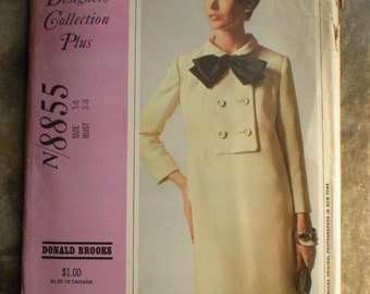 New York Designers Collection  Vintage 1967 Designer Donald Brooks Stylish Dress 8855 pattern FF