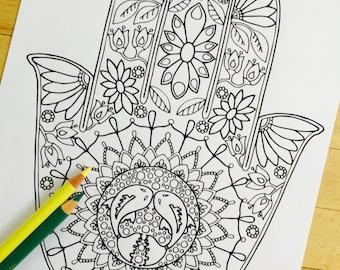 Hamsa Om Hand Drawn Adult Coloring Page Print