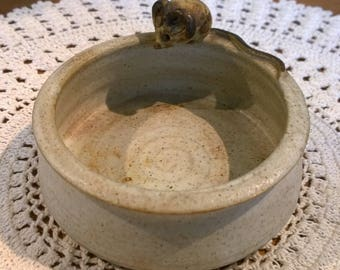 Round studio pottery dish with mouse cute