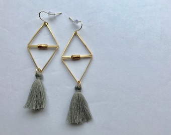 Double Triangle Losange Brass + Grey Tassels Pendant Earrings