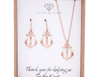 Anchor Rose Gold FILLED necklace Earrings - simple rose gold anchor necklace, letter, initial, best friends, sisters, mum, navy