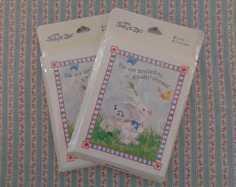 Vintage Suzy's Zoo Baby Shower Invitations 16 New