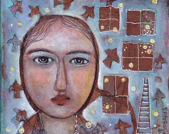 mixed media painting woman face hat  ethereal stars windows   8x8 canvas