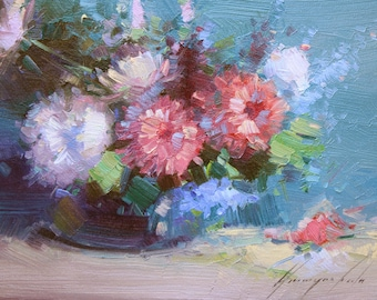 Still life, flowers, oil on canvas, original painting, handmade artwork, classic art, kitchen art, 9 x 13 in