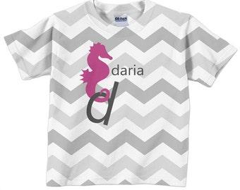 Personalized Chevron Shirt, Girls Seahorse Tshirt, Girls Clothing, girls top