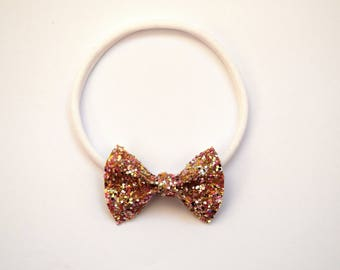 Gold MULTI Glitter TINY Bow Headband One Size fits All for Newborn Baby Little Girl Child Adult Headwrap Pretty Spring Summer Easter Bow