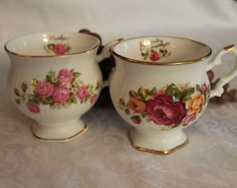 Beautiful Porcelain Tea Cups labeled Mother and Grandmother in Excellent Condition
